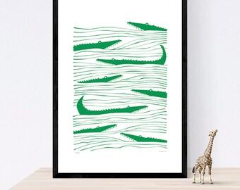 Crocodiles Giclée Print Large 50x70cm Open Edition 2016