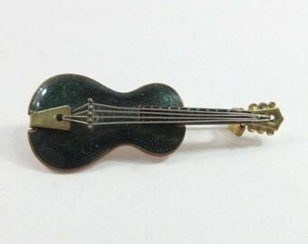 Musical Instrument Pin Brooch Guitar Western Germany Guilloche Enamel Vintage 9110