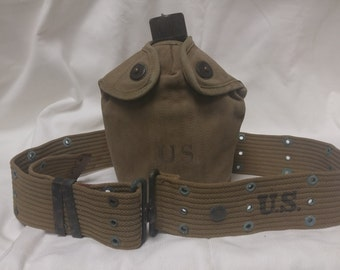 WW11 US Army Web Belt, Canteen and Canvas Cover Military RM Co. #A852