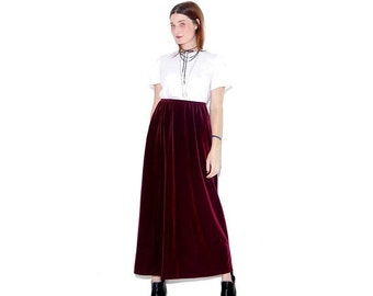 HURRY HALF OFF 90s Oxblood Velvet maxi skirt / xs small medium/ deep plum merlot color velvet skirt high waisted skirt goth gothic 90s cloth