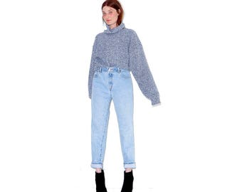 vintage LEVI JEANS high waisted jeans size small medium / adorable levis 550 jeans mom jeans boyfriend jeans tapered jeans with perfect wash