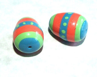 Easter Egg Beads - Handmade from Polymer Clay