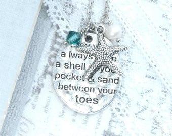 Sea Pendant Necklace Starfish Necklace Silver Beach Pendant Necklace Starfish Gift Sea Jewelry