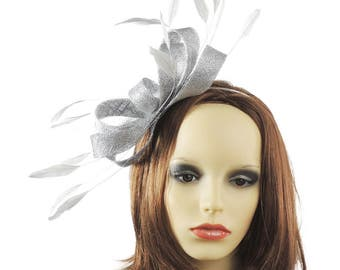 Metallic Silver Fascinator Kentucky Derby or Wedding Hat **SAMPLE SALE