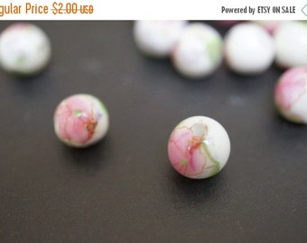 WINTER SALE Japanese White Round Porcelain Beads with Classic Pale Baby Pink Peony Flowers Beads  - 6mm - 6 pcs