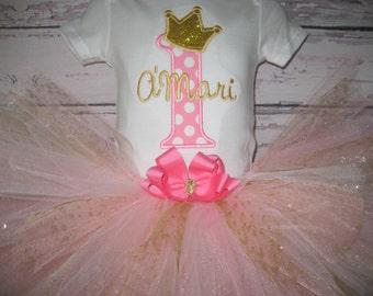 Baby girl princess Birthday tutu set, pink and gold, First Birthday tutu set, princess outfit, cake smash, Princess Party outfit
