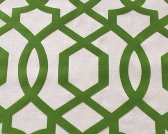 Rich SPRING Kelly Green  Geometric Flocked Design -Decorative Designer Pillow Cover- Throw /Toss / Lumbar Pillow