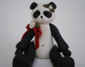 RESERVED FOR TERESA -Handsculpted Polymer Clay Panda Bear with a Pink Bow by Helen's Clay Art