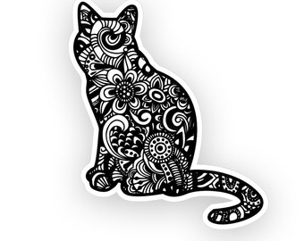 Weatherproof Vinyl Sticker - Cat Henna Peace Hand, Unique, Fun Sticker for Car, Luggage, Laptop - Artstudio54