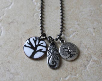 Tree of Life, Tree Charm Necklace, Charm Necklace, Enamel Tree, Tree Charm, Nature Necklace, Tree of Life Necklace, Tree of Life Charms