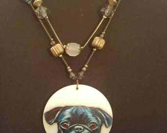 Handpainted porcelain pug dog pendant necklace
