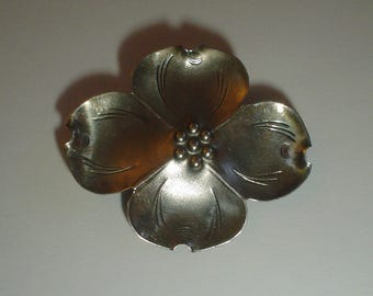Silver brooch Stuart Nye sterling dogwood flower pin vintage