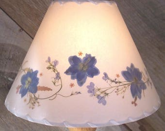 Lampshades field and forest vintage and by botanicallampshades botanical lampshade with blue delphinium real pressed flower lamp shade floral border design lampshade mozeypictures Gallery