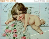 ONSALE Cia 1920s Antique Adorable and Sweet Kewpie Angel Die cut Antique Place Card Ephemera
