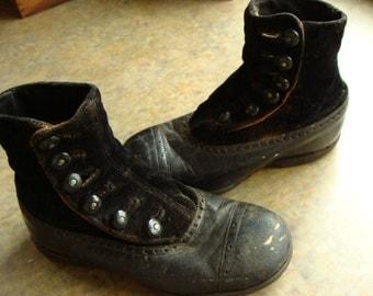 Antique Velvet Edwardian Gorgeous High Button up Boots