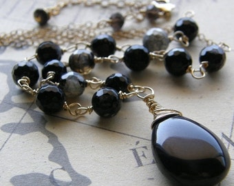 20% OFF Black and Gold Necklace, Rosary Style Necklace, Stone Pendant, Brown and Black Agate Necklace
