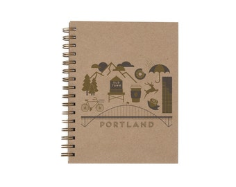 Portland Journal - Notebook | Lined Pages | Spiral Bound | Letterpress | Hard Cover