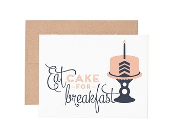 Boxed Cards - Eat Cake for Breakfast Letterpress Greeting Cards - Boxed Set | Birthday Cards | Happy Birthday
