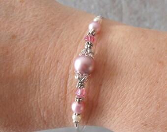 Rose Pink Bridesmaid Bracelet Pink Pearl Bridesmaid Jewelry Beaded Swarovski Pearl and Crystal Bracelet Spring Wedding Jewelry  Pastel Pearl