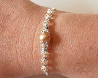 Rose Gold Pearl Bridesmaid Bracelets, Swarovski Pearl Bracelet, Pearl and Crystal Wedding Jewelry Sets, Beaded Bridesmaid Jewelry, Handmade
