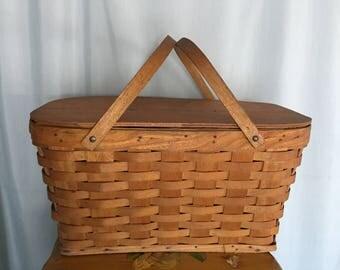 Picnic Basket Vintage Distressed Brown Wood Large Storage Fold Handles Hinged Lid Farmhouse Decor