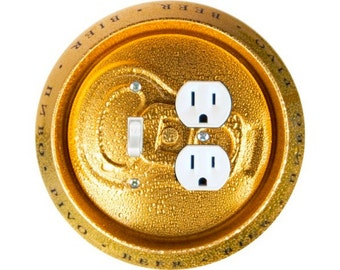 Beer Can Toggle Switch and Duplex Outlet Double Plate Cover