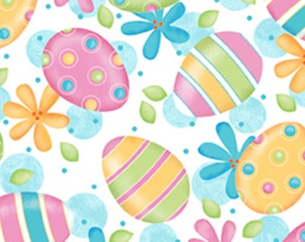 White Easter Egg Fabric - Quilting Treasures - 23718Z