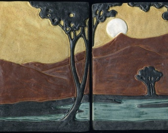 "Arts & Crafts style Landscape - Art Tiles with Moon, Trees, Stream and Mountains - 2 Tile Set - 7"" x 9 1/2"""