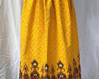 "Vintage 70s Psychedlic Barkcloth Beverly Vogue Maxi Skirt 26"" Waist"