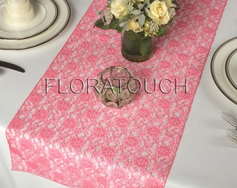 Coral Lace Table Runner Wedding Table Runner