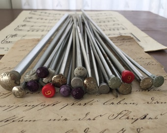 All Silver Gray Vintage Knitting Needles Set