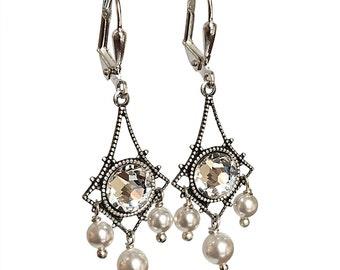 Vintage Crystal Earrings,  Chandelier Earrings, Chandelier Earrings adorned with Crystal from Swarovski
