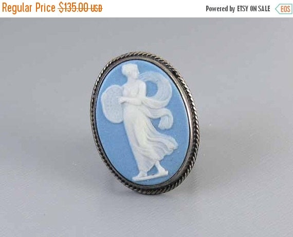 Holiday Sale Antique Victorian sterling silver blue jasperware Wedgwood full body cameo large oversized statement ring size 5.5