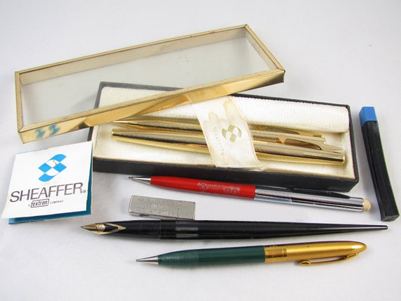 Vintage lot Sheaffer pen pencil ball fountain ink pen 14K nib / White Dot / boxed set / gold plated / lead / Fineline / writing instruments