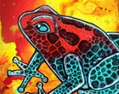 Strawberry Poison Frog Original Miniature Painting by Lynnette Shelley