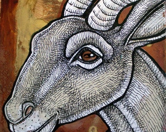 Original Smiling Goat Miniature Art by Lynnette Shelley
