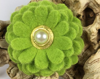 Chartreuse Angora Flower Brooch Pin with Vintage Earring Center
