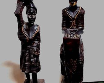 African Carved Wood Man Woman Figurines Vintage Drum