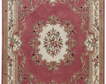Dollhouse Miniature Small Scale Computer Printed Fabric Cranberry Wine Floral Rug