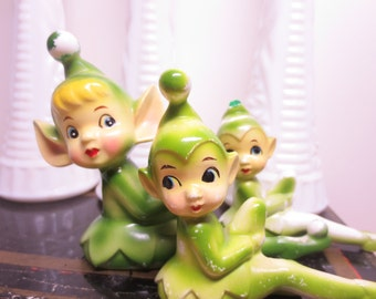 Vintage Set of 3 Green Elf Ceramic Elfs Garden Elf Ceramic Green Elves Garden Elves