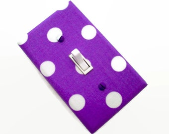 Polka Dots Light Switch Cover - Purple and White Nursery Decor - Girls Purple Switch Plate - Girls Purple Bedroom Decor - Teens Room