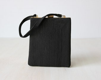 Vintage 1940s Black Corde Evening Formal Handbag Purse / Frame Handbag / Black Corde Bag / Corde Clutch  / Noir