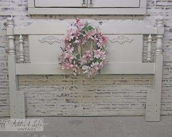 Queen Headboard, Distressed White Cottage Style  - Chic BD301 Shabby Farmhouse Chic