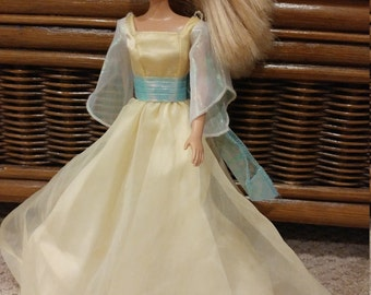 Gorgeous vintage Barbie gown with irredescent bell sleeves