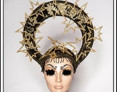 Golden Stars.... Gold and Black Halo with Glittery Stars and Rhinestones Religious Headdress