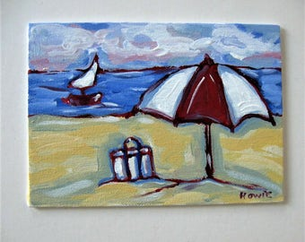 "Original acrylic beach painting on canvas, 5"" x 7"", Shabby nautical decor, Sailboat art canvas, Umbrella, Impressionist wall art, gift idea"