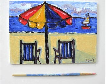 "Beach painting on canvas, original acrylic art canvas, Beach chairs and Sailboat, 5"" x 7"", Umbrella, Impressionist wall art, gift idea"