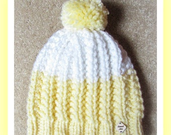 Yellow and White Adult Hand Knit Hat with Jumbo Pom Pom Ready to Ship