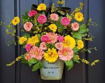 Spring Door Decor, Spring Wreath for Front Door, Gerber Daisy Wreath, Yellow Daisy Wreath, Wreaths for Spring, Spring Door Wreaths, Wreaths