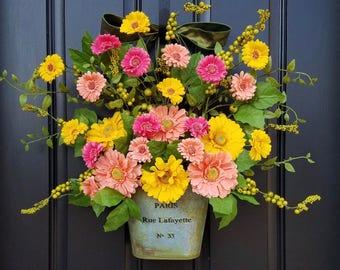 Summer Door Decor, Spring Wreath for Front Door, Gerber Daisy Wreath, Yellow Daisy Wreath, Wreaths for Spring, Spring Door Wreaths, Wreaths
